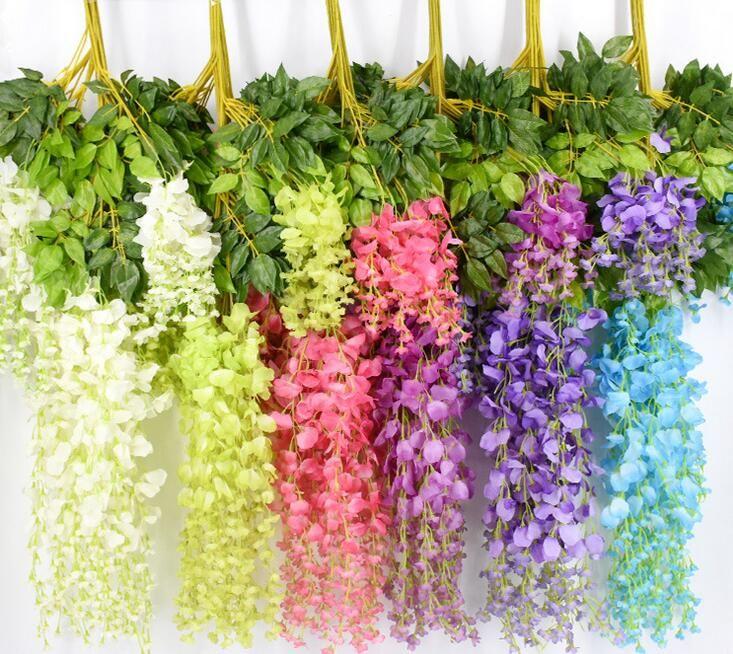 7 couleurs élégantes fleurs de soie artificielle Wisteria fleur vigne rotin jardin de soirée de mariage Décoration 75cm et 110cm Disponible