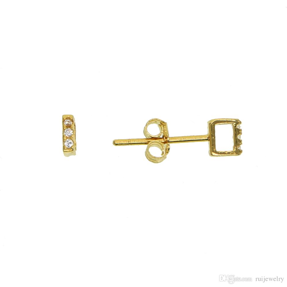 Nice simple tiny 100% 925 sterling silver hollow square gold silver color mini cute stud earrings screw back ear stud jewelry