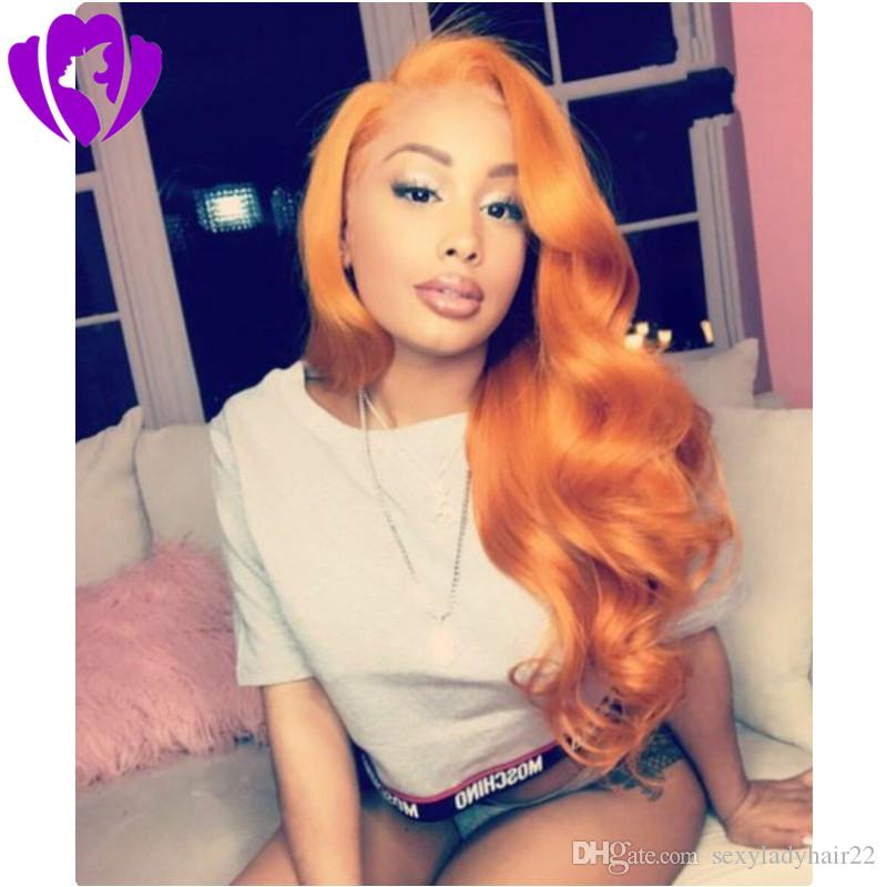 Free Part Brave Long Orange lace front wig synthetic body wave High Temperature Fiber Synthetic Hair Princess Cosplay Wigs For Halloween