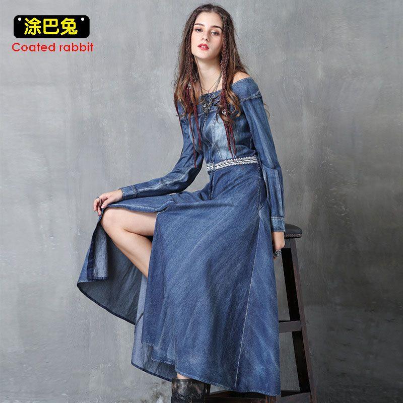 Fora do ombro verão mulheres denim dress sexy barra pescoço manga comprida jeans dividir vestidos longos casual dress dress feminino cinto 2018