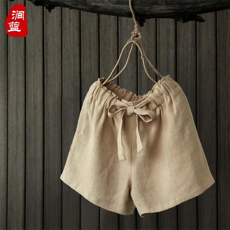 2018 recién llegado de algodón y lino de primavera y verano de las mujeres pantalones cortos de color sólido