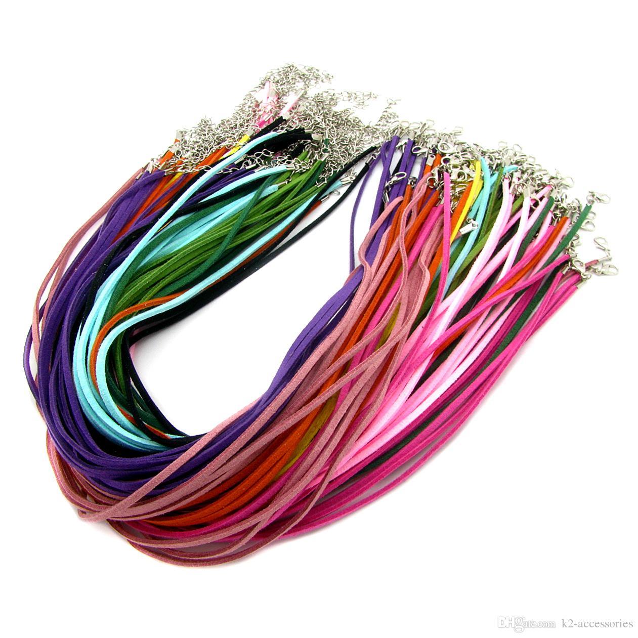 100pcs التي / الكثير 3MM الجلد المدبوغ الحبل لون المزيج الكورية المخملية الحبل سلسلة حبل قلادة المشبك جراد البحر DIY صنع المجوهرات