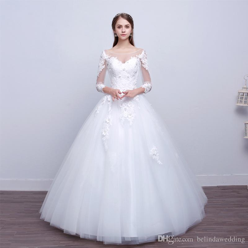 Großhandel Sexy Sheer Long Sleeve Brautkleider Spitze Appliques ...