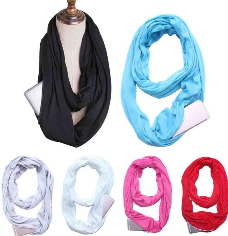 Unisex Mode Schal Infinity Schals mit Reißverschluss Tasche Geschenke Reisen warme Ring Schals Loop Schal LJJK1076