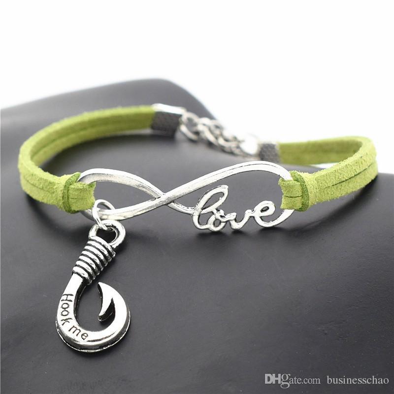 Infinity Love Fishhook Hook Me Words Pendant Charm Bracelets & Bangles For Women Men DIY Green Leather Suede Rope Cuff Jewelry For Women Men