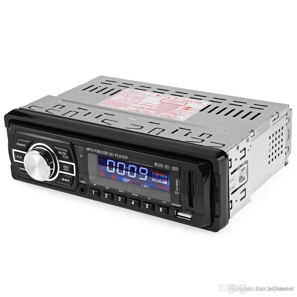 Car Audio Stereo FM Radio 12V USB SD Mp3 Player AUX with Remote Control with LED / LCD Display Blue Color lllumination For Car +B