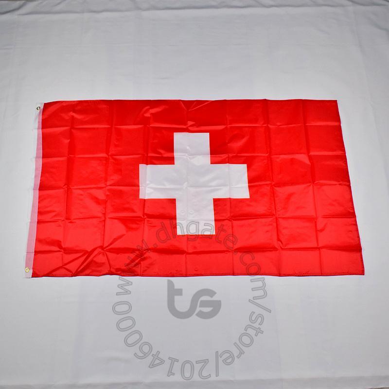 سويسرا / السويسري العلم الوطني الحرة الشحن 3X5 FT / 90 * 150CM معلق العلم الوطني السويسري الديكور المنزلي راية