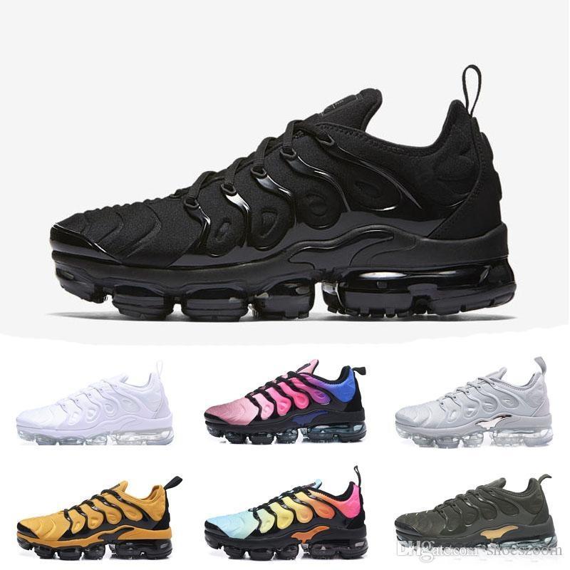 2018 2019 TN Plus Olive In Metallic Weiß Silber Colorways Schuhe Männer Schuhe Für Laufschuhe Männlichen Schuh Pack Triple Black Mens US 5.5-11 Vapormax vapor max nike air