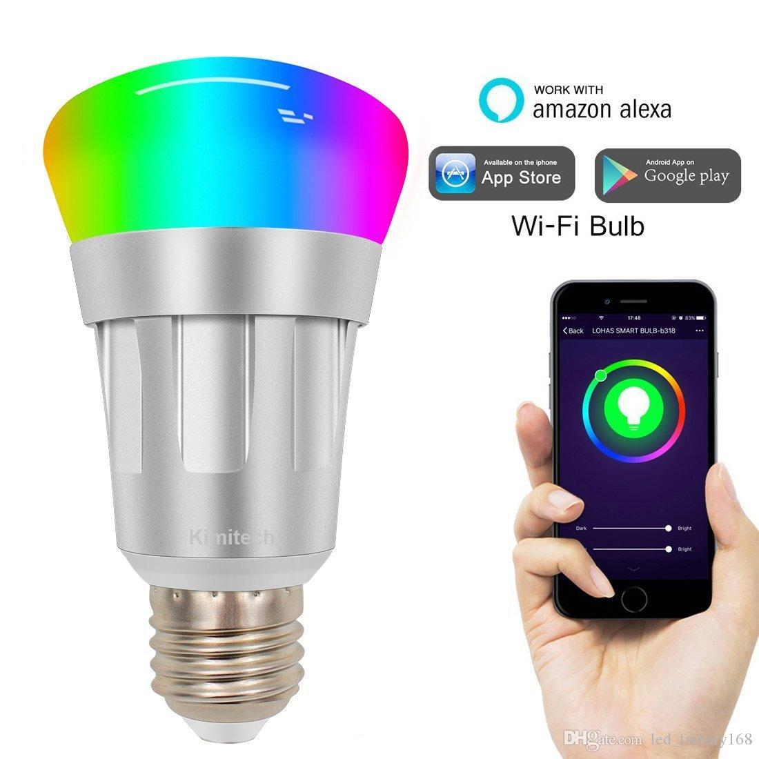 Bombilla inteligente Alexa WiFi Bombillas LED 6000K RGB del color multi regulable sin concentrador requeridos Compatible con Alexa para iOS / Android