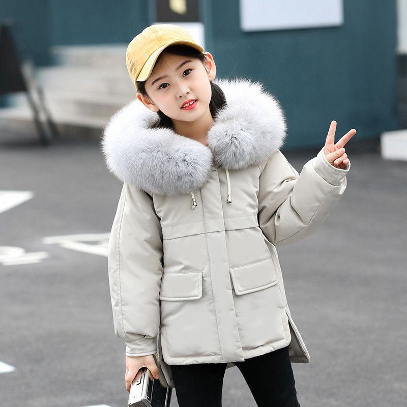 Niños chaqueta de invierno para niñas abrigos de invierno de la moda con capucha niños de la piel por la chaqueta de abrigo para niños de la niña de ropa