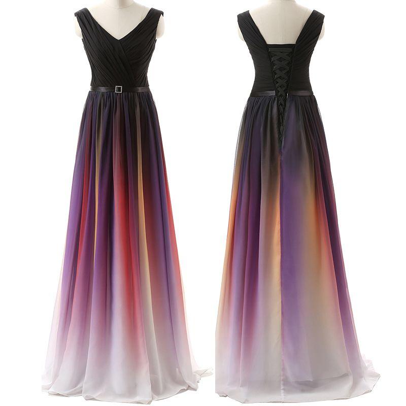 레인보우 화이트 블루 레드 그라데이션 쉬폰 이브닝 드레스 롱 옴브 파티 파티 공식적인 들러리 드레스 사이즈 2 4 6 8 10 12 14 16