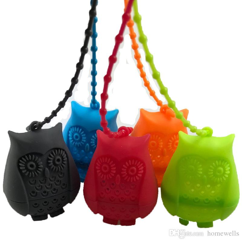 FDA Silicone Cute Owl Shaped Tea Infuser Slicone Reusable Portable Tea Strainer Coffee Filter Empty Tea Bags Leaf Diffuser 50PCS DHL Free