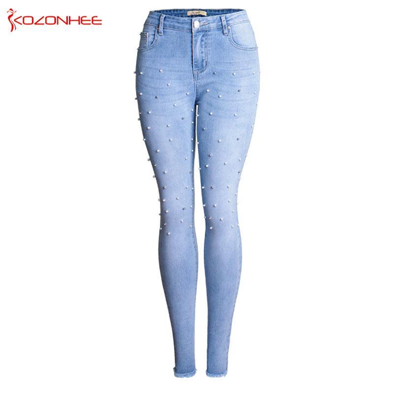 Flares Bordados Estiramento das Mulheres Calça Jeans Com Cintura Média Skinny Elasticidade Jeans Para Meninas Com Zíper Lápis Calças # 0100