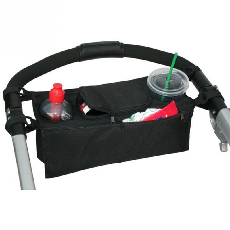 Baby Pram Stroller Pushchair Safe Console Tray Cup Holder Organizer Hanging Bag Black