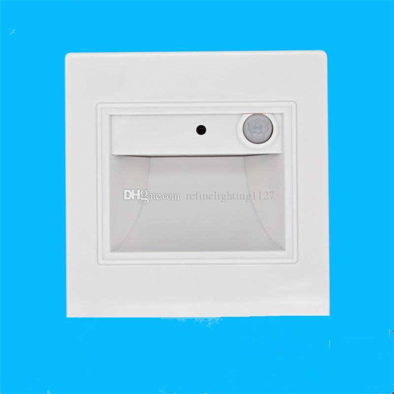 Recessed Led Wall Lamp PIR Motion Sensor Sconce Stair Light Indoor Steps Ladder Hallway Loft Lighting 86mm Human Body Induction Foot Lamps