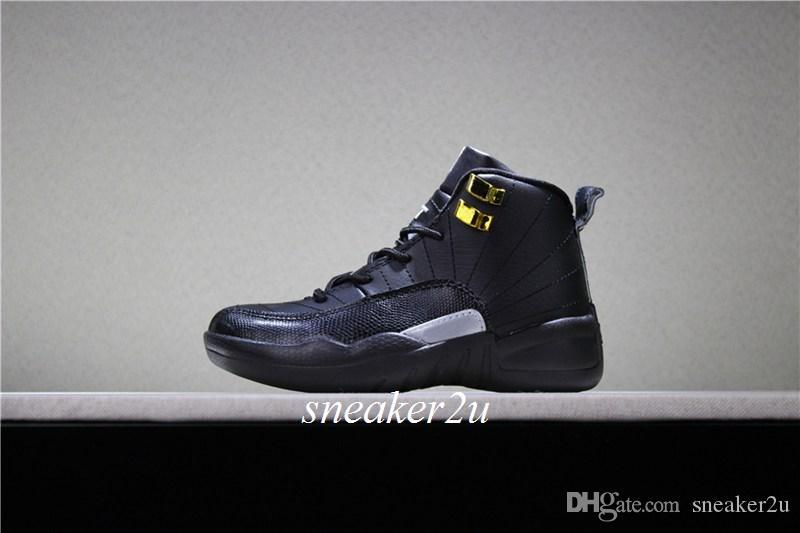 Niños 12 THE MASTER Zapatillas de baloncesto negro blanco-negro-mtllc dorado Niños 12 Calzado deportivo moda niños niñas zapatillas de deporte tamaño US 11c-3y