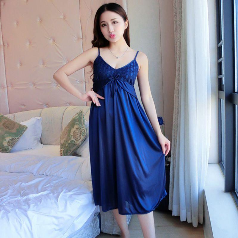 Новые летние женщины пижамы сексуальные спагетти ремень ночная рубашка длиной до колен район ночная рубашка Платье Femme 3 цветов