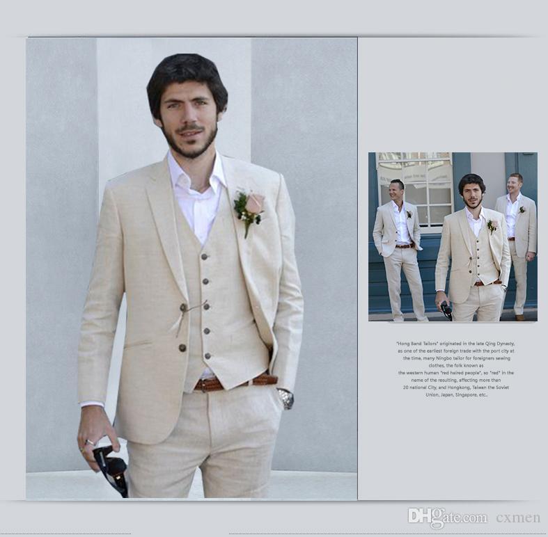 Summer Beige Linen Beach Mens Suits Wedding Suits for Men 2018 Suits Men Best men Groomsmen Custom Made Man Suit 3 Piece Jacket+Pants+Vest