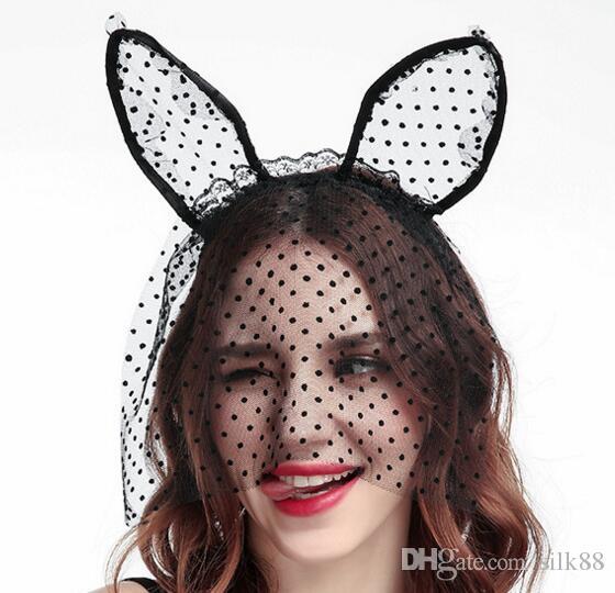 Трансграничная новая партия Cat ободки кружева точка cat уши волос группа вуали Хэллоуин головные уборы Оптовая