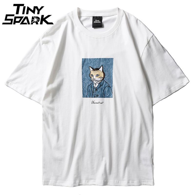Мужская смешная футболка Vincent Cat печати 2018 хип-хоп футболка с коротким рукавом мода Белый футболка уличная топы Tee новое лето 2018