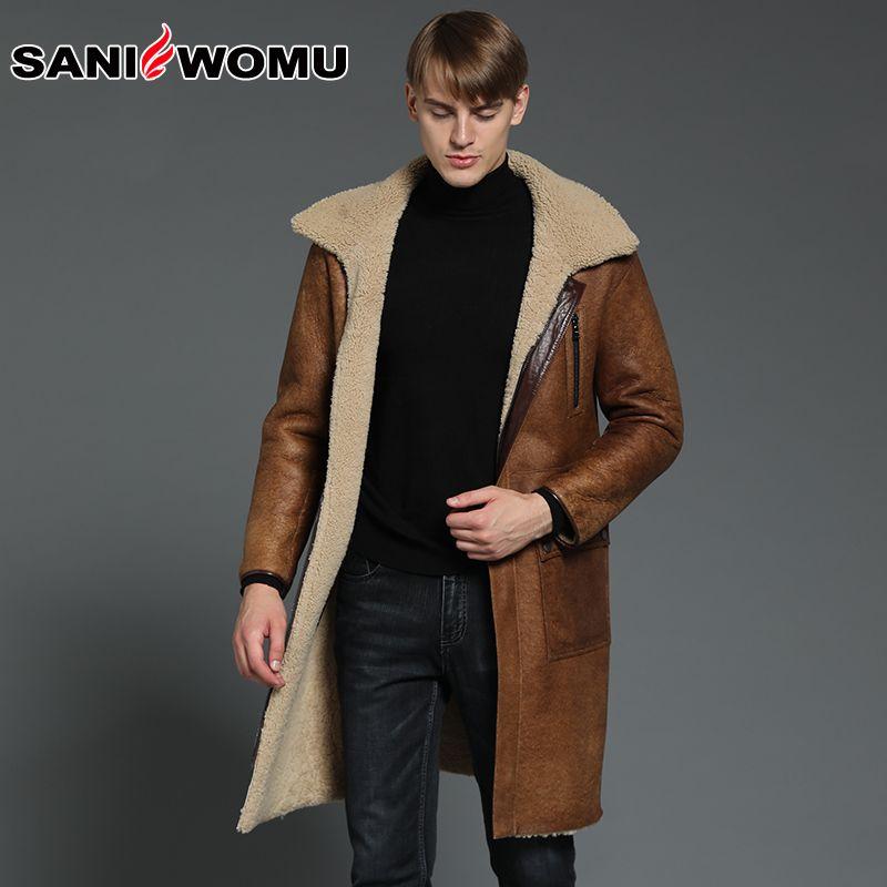 Men's Designer Long Winter Real Sheepksin Fur Coat