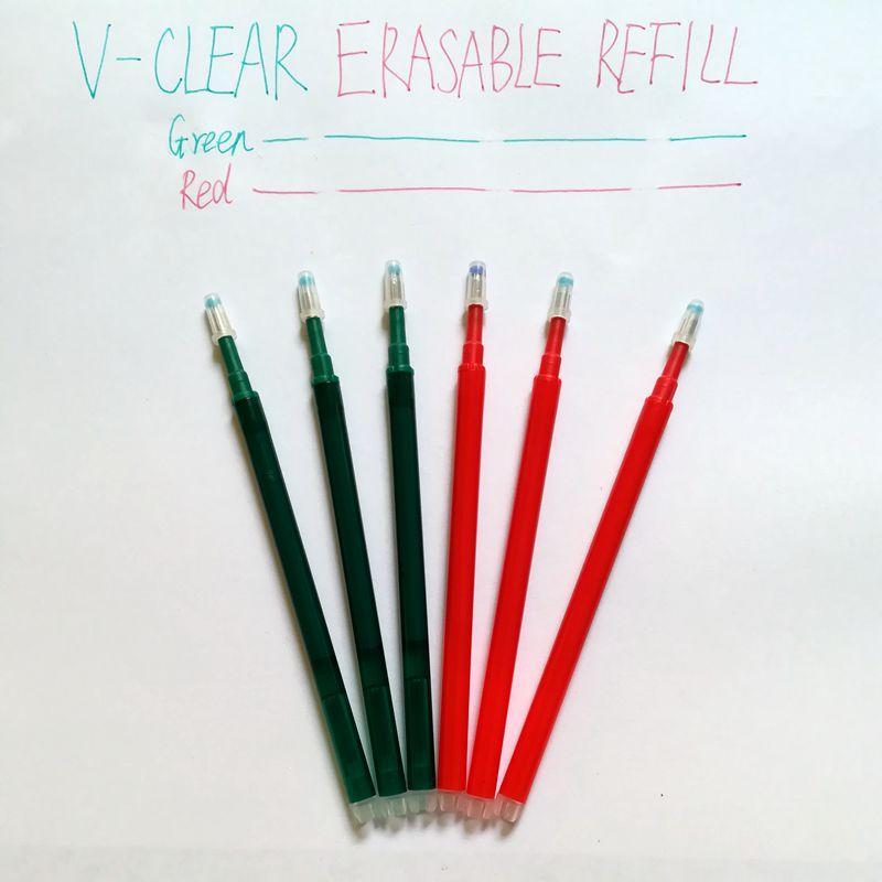 Recharge effaçable de stylo de papeterie d'école de bureau 0.7mm rouge / encre verte Recharge de gel de l'encre 6PCS pour l'écriture d'étudiant d'enfants de gosse