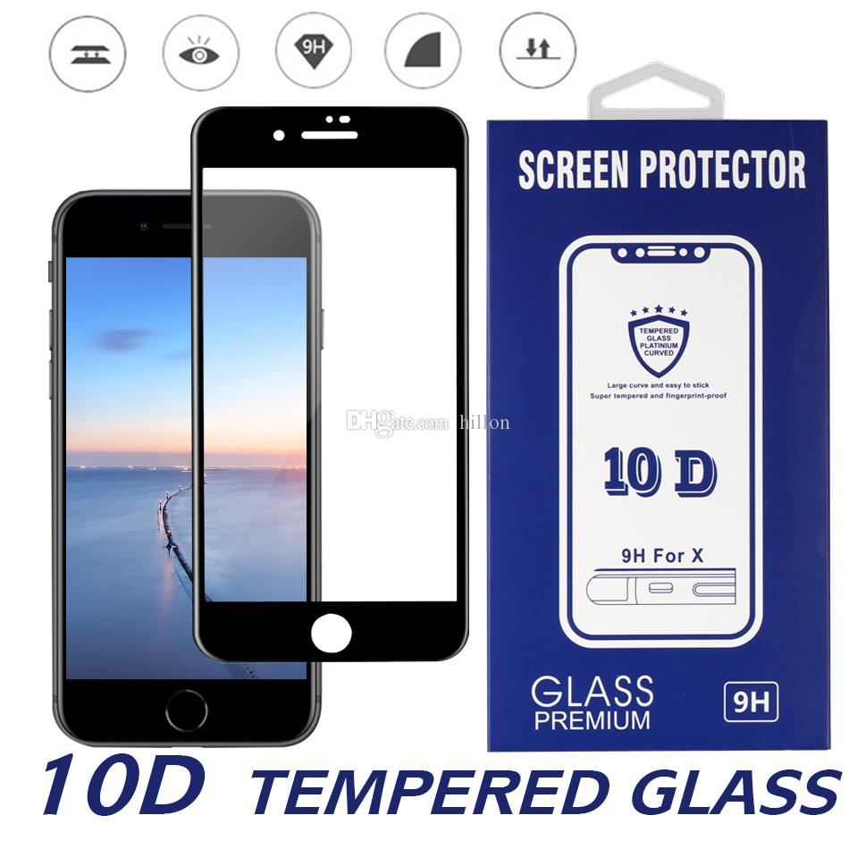 10D Completo Curvo Protector Protector de Pantalla de Vidrio Templado para Apple iPhone X XS