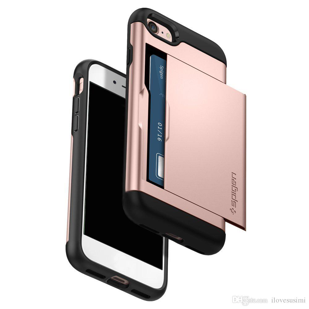 various colors abf19 b742b Spigen Slim Armor CS IPhone X 8 7 6 5 Case With Dual Layer Wallet Design  And Card Slot Holder Cover For Samsung S4 S5 S6 S7 S8 S9 Note 4 5 Cell  Phone ...