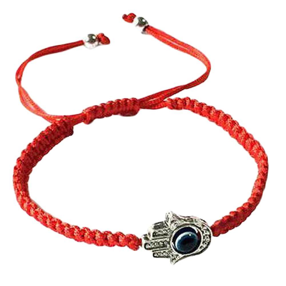 Pulseras de cuerda trenzadas hechas a mano Hilo rojo Pulseras con dijes azules de mal de ojo Bring You Lucky Pulseras tranquilas Longitud ajustable