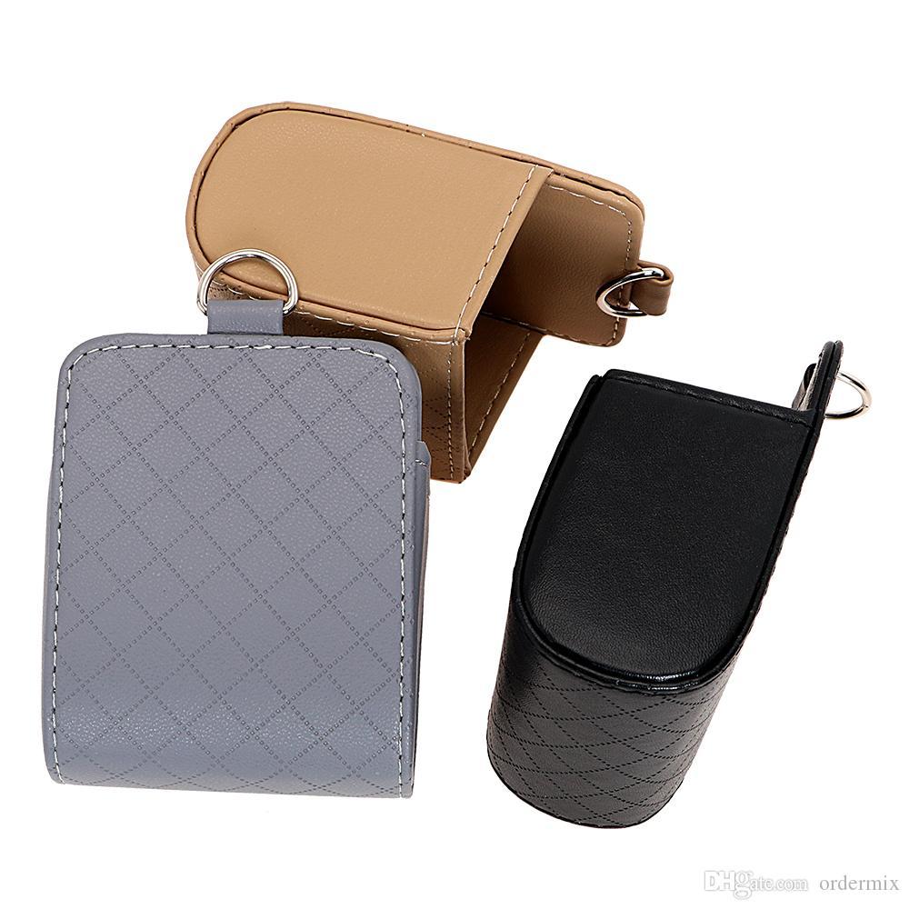 Car Organizator Air Vent Outlet Storage Box PU Leather Telefon komórkowy Okulary Okulary Biletowe Pojemnik Tidy Auto Torba