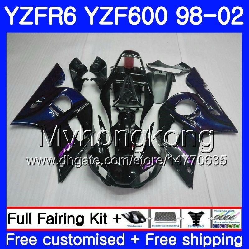 Cuerpo para YAMAHA azul oscuro llamas YZF R6 98 YZF600 YZFR6 98 99 00 01 02 230HM.14 YZF 600 YZF-R600 YZF-R6 1998 1999 2000 2001 2001 2002 Carenados