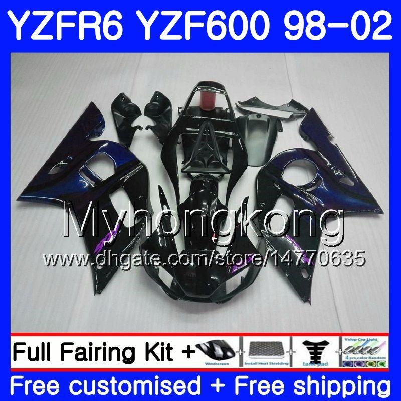 YAMAHA'nın gövdesi koyu Mavi alevler YZF R6 98 YZF600 YZFR6 98 99 00 01 02 230HM.14 YZF 600 YZF-R600 YZF-R6 1998 1999 2000 2001 2002 Kaplamalar