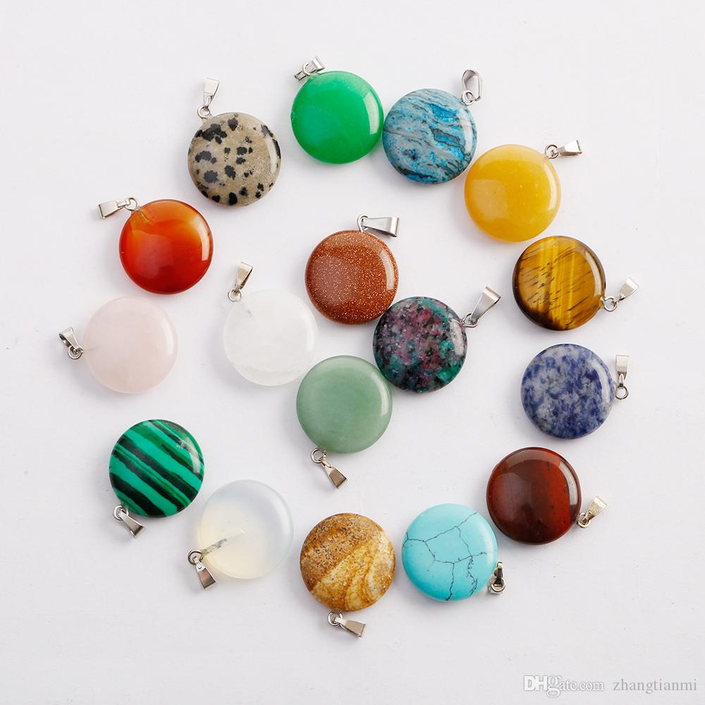 Hot Fashion Round shape Pendant Natural Agate Crystal Stone DIY Jewelry making Earrings Necklace Holiday Gift Free Shipping
