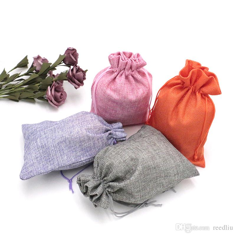 Wholesale! 100pcs/lot 13 Pure Color Jute Linen Drawstring Bag Christmas Wedding Voile Gift Bag Packing 15x20cm Gift Pouch Jewelry Bag