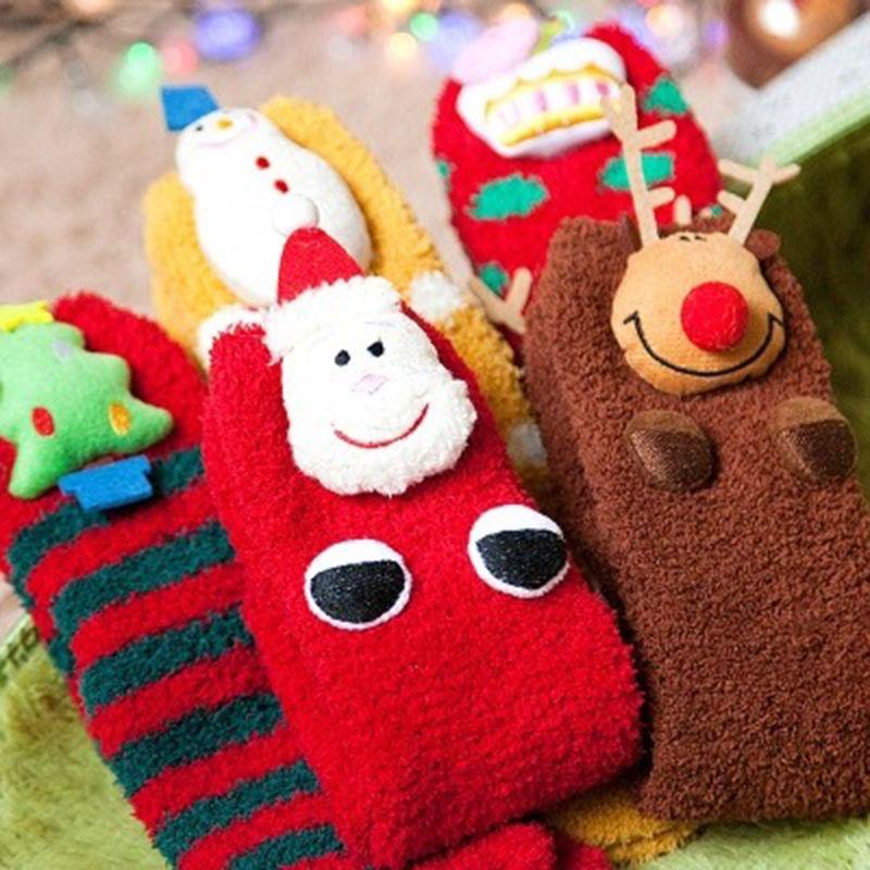 Baby Santa Socks Family Christmas Socks Boys Girls Cotton Soft Stockings with 3D Christmas Claus Tree Snowman Deer Crown