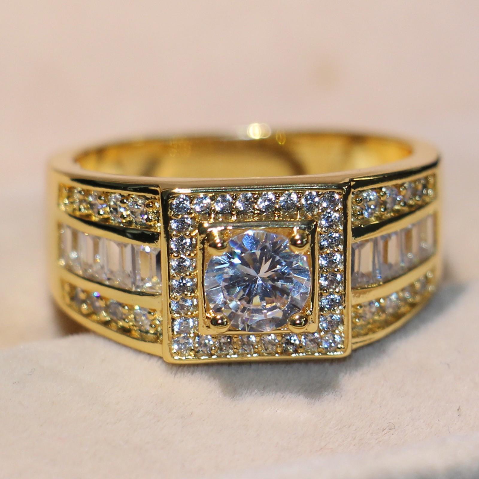 Stunning gioielli di lusso fatti a mano originale 10KT oro giallo riempito rotondo bianco topazio diamante della cz pietre preziose uomini wedding band anello per gli amanti