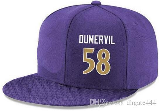 Cappelli di Snapback Personalizzato qualsiasi numero di nome del giocatore # 58 Cappello di Dumervil # 57 Cappellini di TUTTI i team personalizzati Accetta logo o nome di ricamo piatto personalizzato