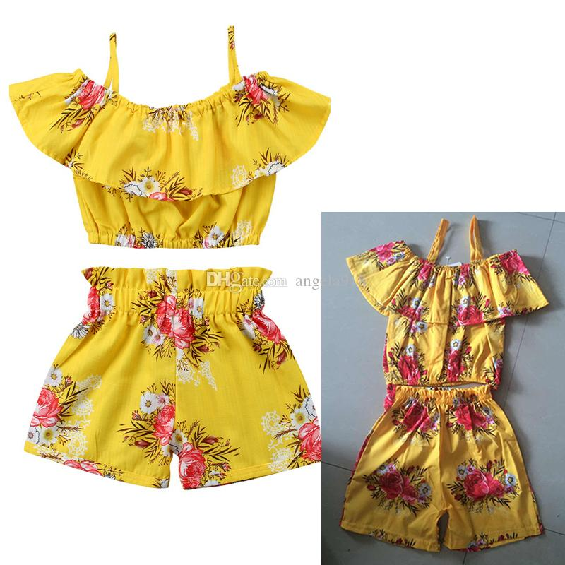 Boutique baby suit 2018 summer cotton girl printing T-shirt+shorts 2pcs/set suit best-selling models free shipping H005