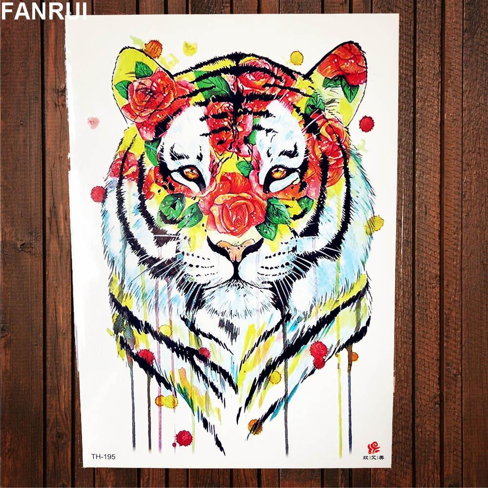 62a4f7566 Watercolor Tiger Temporary Tattoo Women Back Body Art Drawing Flash Men Arm  Tatoos Girls Makeup Tips Waterproof Tattoo Cosmetic Make A Tattoo Online  Make ...