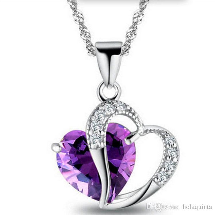 Collar azul púrpura de la manera para las mujeres 925 plateado CZ corazón colgante collar de las señoras regalos de la joyería