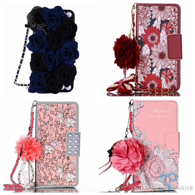 3D Pearl Leather Wallet Case For iPhone 11 XR XS MAX X 8 7 6 Galaxy S10 S10e Note 10 9 8 S9 S8 Flower Bead Bling Flip Phone Cover Slot Strap