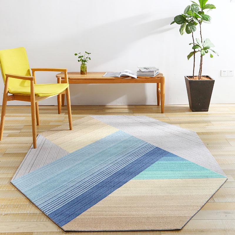 Unique Irregular Geometric Living Room Rug, Nordic Big Size Bedside Carpet,  Blue Decoration Office Carpet ,Ground Mat Blanket Black Chenille Throw ...