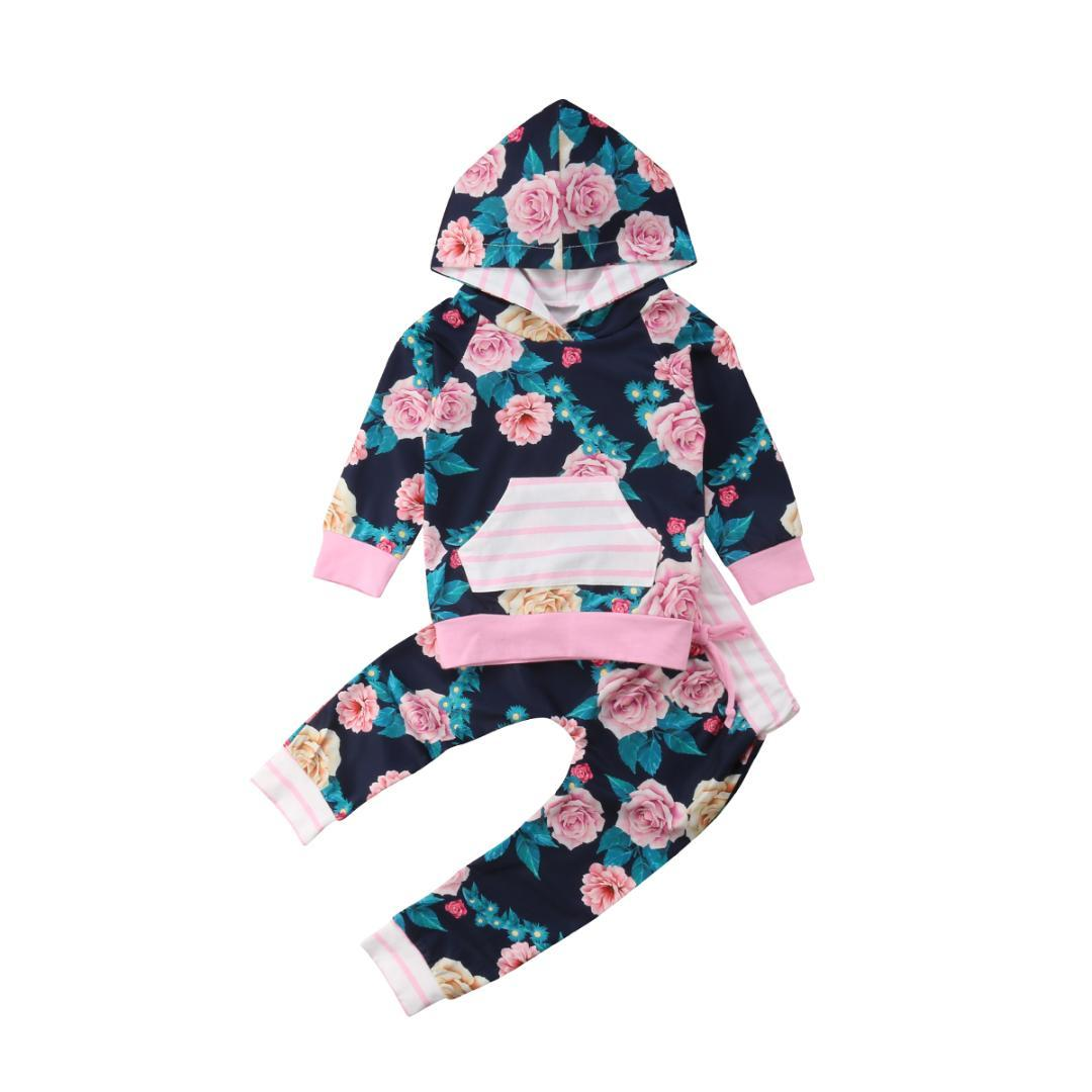 2PCS Hoodies Set Newborn Toddler Baby Girls Hooded Tops Print Sweatshirt+Long Pants Sets Kids Two Piece Clothes Outfits