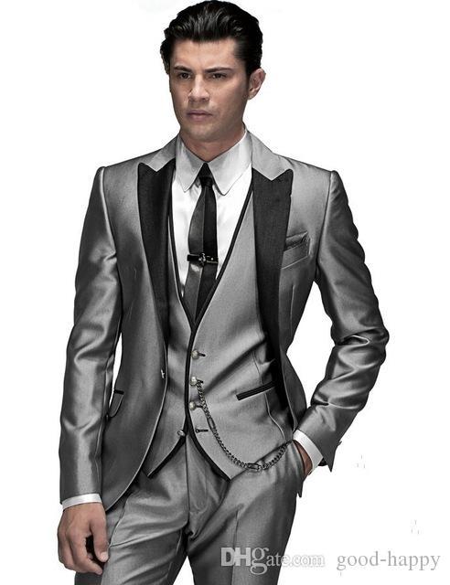 Moda Prata Cinza Noivo Smoking Excelente Homens Casamento Smoking Pico Lapela Um Botão Dos Homens Formal Busines Partido Terno (Jacket + Pants + Tie + Vest) 69