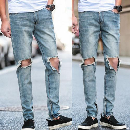 Casual Men Light Blue Ripped Distressed Full Length Straight Jeans Distroyed Slim Fit Denim