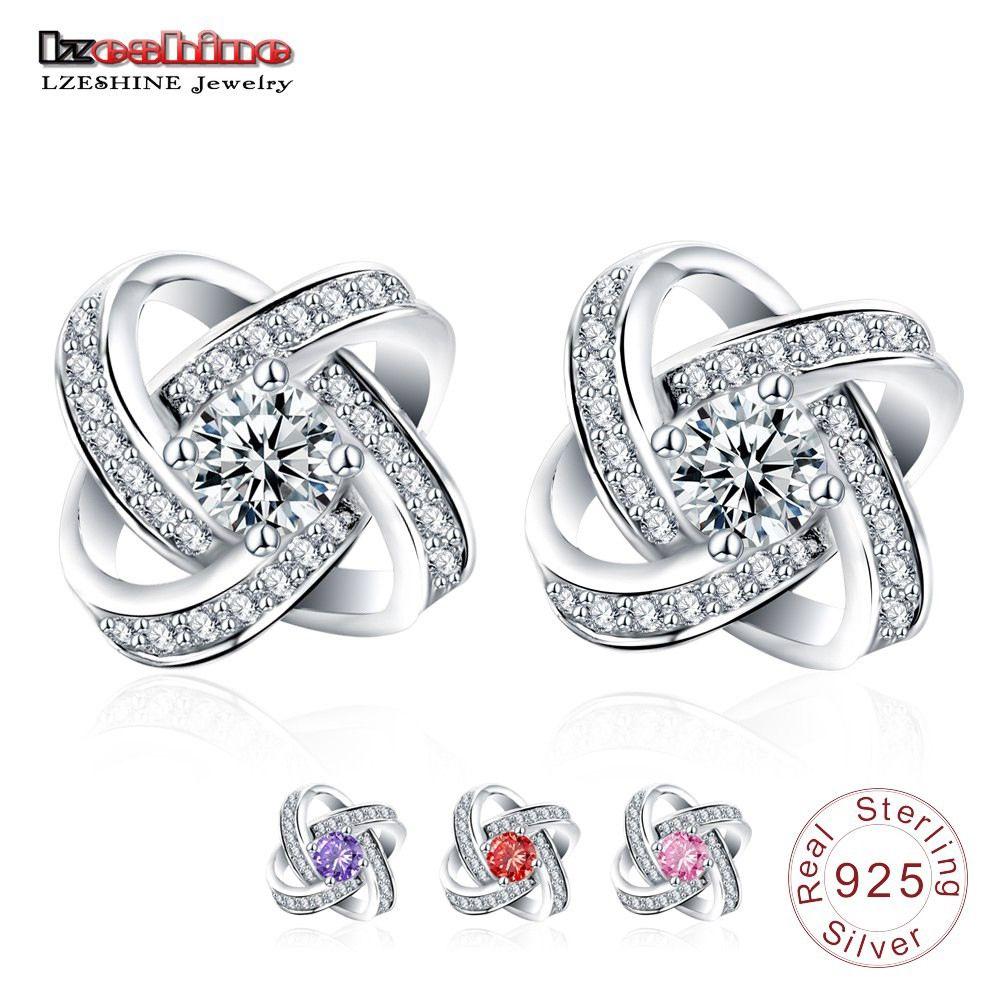 Atacado 100% Genuine Sterling-silver-jewelry Brincos Stud com CZ Pedra Brincos de Prata Esterlina para Mulheres de Casamento SER0102-B