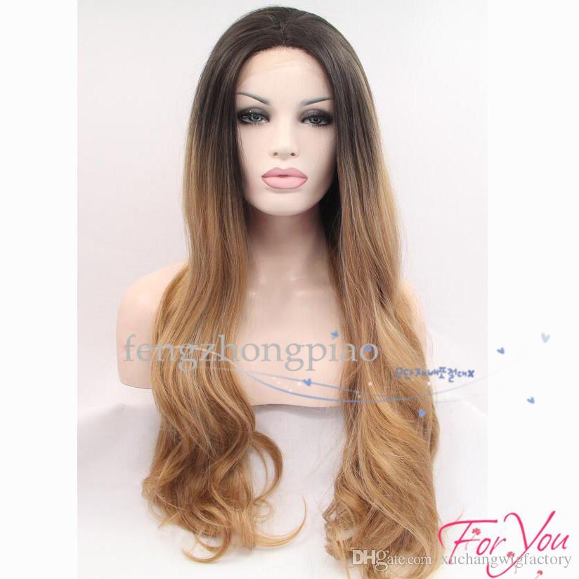 Synthetische Perücken Seidiger Körper Wellenförmige Ombre Blondes Haar Glueless Dunkle Wurzelspitzeperücke Hitzebeständige Synthetische Lace Front Perücken