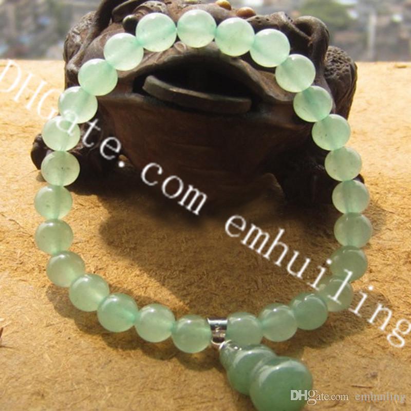 "10Pcs Natural Semi Precious Gemstone 6mm Tiny Round Green Jade Beads Stretch Bracelet 6.3"" Unisex Green Aventurine Bracelets with Cute Gourd"
