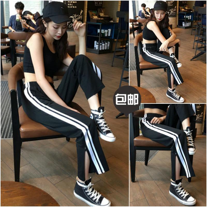 Осень брюки девять случайные сплит двойной женские брюки талии свободные брюки летние широкие брюки