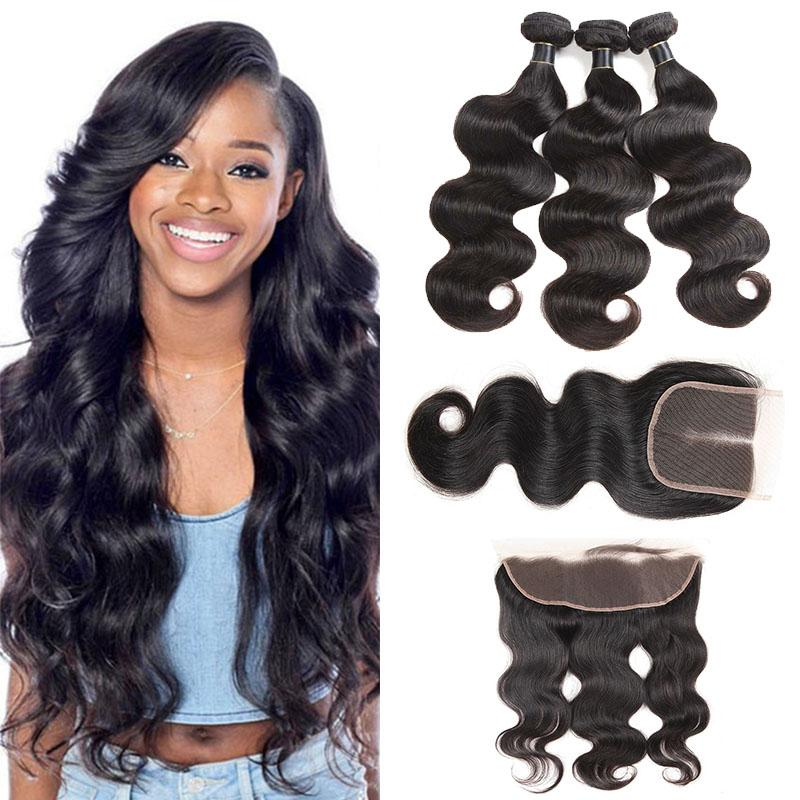 Peruvian Silk Hair Body Wave With Lace Closure Free Middle Or 3 Part 100% Unprocessed Brazilian Peruvian Body Wave Virgin Human Hair Weaves